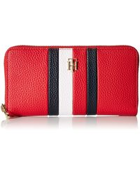 Tommy Hilfiger TH Essence Large Zip Around Wallet Primary Red - Rouge