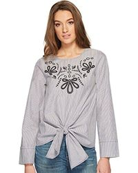 Kensie - Classic Striped Shirting With Embroidery - Lyst