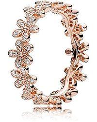 PANDORA Dazzling Daisy 180934CZ Bague motif de marguerites scintillantes serties de zircones cubiques roses et transparentes - Métallisé