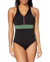 AURIQUE Zip Front Swimsuit, - Black