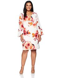 1448b53ebdc Calvin Klein - Plus Size V Neck Sheath With Flutter Bell Sleeve Dress - Lyst