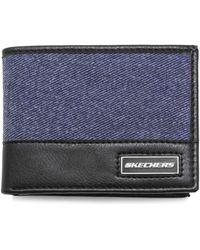 Skechers Slimfold Canvas Vegan Leather Rfid Wallet - Blue