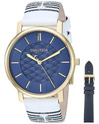 Nautica - 'coral Gables Box Set' Quartz Stainless Steel And Nylon Casual Watch, Color:white (model: Napcgs008) - Lyst