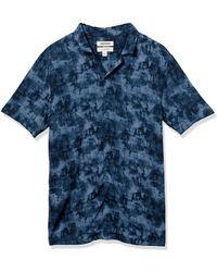 Goodthreads Camisa Hawaiana de ga Corta con Cuello de Campamento - Azul