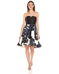 Halston - Strapless Notch Neck Printed Dress - Lyst