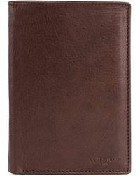 Le Tanneur Portefeuille moyen modèle zippé 3 volets Gary en cuir huilé - Marron