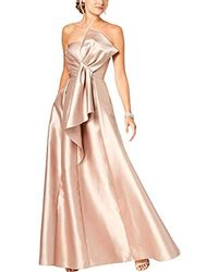 Adrianna Papell Strapless Mikado Ball Gown With Bow Accent Dress - Pink