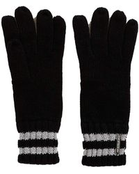 Michael Kors Sparkle Stripe Knit Gloves - Black
