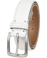 Columbia Casual Leather Belt-Jeans Khakis Dress Silver Prong Buckle - Bianco