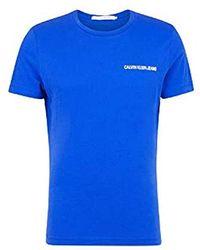 Calvin Klein Chest Institutional Slim SS Tee T-Shirt Uomo - Blu