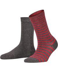 Esprit Sporty Stripe 2-pack Socks - Red
