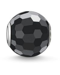 Thomas Sabo Bead Obsidian Faceted Karma Beads 925 Sterling Silver Black K0003-023-11