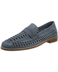6e73d62ea96 Dune - Navy  barmouth Bay  Woven Saddle Loafers - Lyst