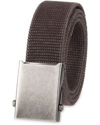 Columbia Military Web Belt-adjustable One Size Cotton Strap And Metal Plaque Buckle - Brown