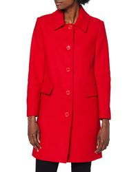Love Moschino Coat_heart And Logo Studs In The Back Wool - Red