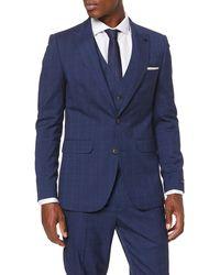 Burton Tonal Prince Of Wales Slim Suit Jacket - Blue