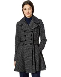 Guess Fashion Plaid Fit And Flare Double Breasted Wool Coat - Black