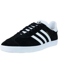 adidas Originals - Gazelle Lace-up Sneaker,black/white/gold Met.,5 M Us - Lyst