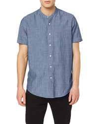 FIND Short Sleeve Chambray Grandad - Chemises - Bleu