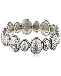 Napier - Print Mix Silver Tone Oval Stretch Bracelet - Lyst