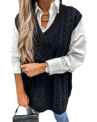 HIKARO S Black Oversized V-neck Jumper Vest Ladies Knitted Sleeveless Jumpers Tank Tops Casual Autumn Cable Knit Waistcoat For - Multicolour