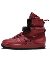 Nike Sf Air Force 1 High Top Trainer - Red