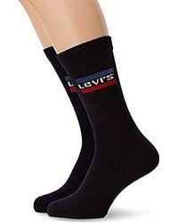 Levi's 168sf Regular Cut Sprtswr Logo 2p Chaussettes, (Lot de 2) - Noir