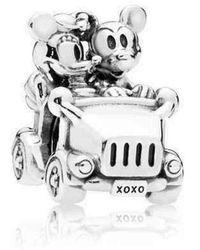 PANDORA Colgante para coche de Minnie Mouse y Mickey Mouse de plata de ley 797174 - Blanco