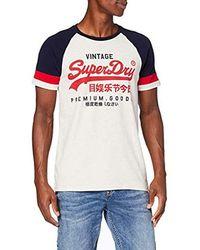 Superdry VL Tri Colour Raglan tee Camiseta para Hombre - Multicolor