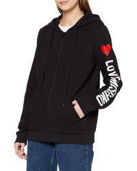 Love Moschino Hooded Long Fleece Zipped Sweatshirt_Stripe Logo & Heart Print On Sleeve_Ribbed Bottom & Cuffs Felpa - Nero