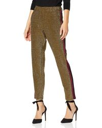Scotch & Soda Maison Tapered Lurex Pants with Velvet Side Panel Pantaloni, - Verde