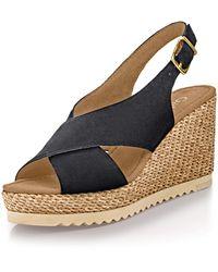 Gabor 25.791-17 Elegante Sandalette aus Veloursleder mit 80-mm-Keilabsatz - Schwarz