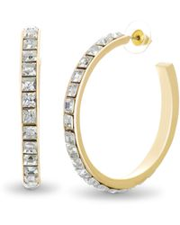 Steve Madden 48mm Square Rhinestone Design Open Hoop Earrings For - Metallizzato