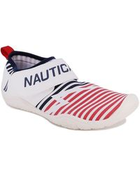 Nautica Arlene Athletic Water Shoes Barefoot Beach Sports Summer Shoe With Stap-Red White and Blue-10 - Bleu