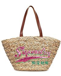 Superdry Bags Anya Straw Natural/pink One Size - Multicolour