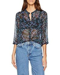 French Connection Aubine Crinkle Collarlss Shirt Blouse - Bleu