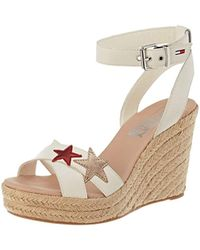 3fc409ae31d Faith White Glitter Trim 'lydia' Wedge Heel Sandals in White - Lyst