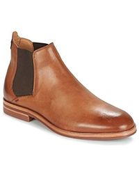 675ba0ec075bc S H By Tonti Calf Leather Smart Formal Chelsea Ankle Boots - Brown