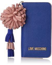 Love Moschino Portacel.small Grain Pu Blu - Bleu