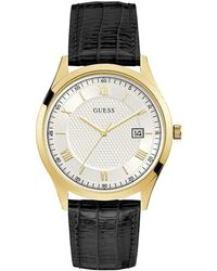 Guess W1182G5 Gold Tone Blue Leather Band White Date Sunray Dial Watch - Métallisé