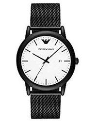 Emporio Armani Analog Quarz Uhr mit Edelstahl Armband AR11046 - Schwarz