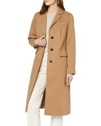 Dorothy Perkins Camel Fitted Single Breasted Crombie Coat - Brown