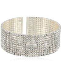 Anne Klein - Classics Silver Ton Crystal Cuff Bracelet, One Size - Lyst