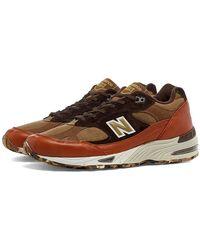 New Balance Hellbraune und braune M991SOP Made in England Schuhe