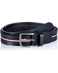 Tommy Hilfiger Corporate Center Stripe Belt 3.5cm, Cinturón Hombre, Azul (Tommy Navy 413), 100