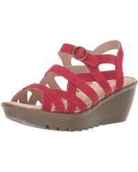 Skechers Parallel-three Strap Buckle Slingback Wedge Sandal - Red