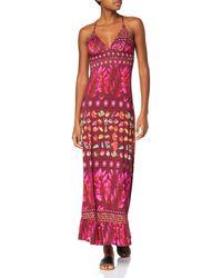 Desigual Dress Straps Greta Purple Robe - Rouge