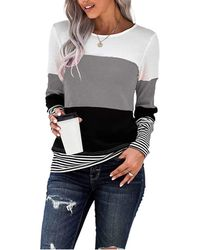 HIKARO Casual Long Sleeve T Shirt Tops Jumper Striped Patchwork Round Neck Sweatshirt Colour Block Pullover Blouse Grey Uk Size 10 12