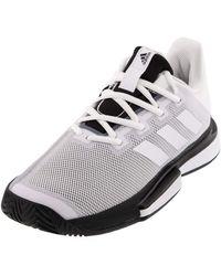 adidas Solematch Bounce Chaussures de Tennis pour - - Blanc/Blanc/Noir, 49 1/3 EU