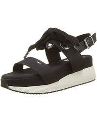 200876317 Tommy Hilfiger 990 Flat Sandal Women s Sandals In Black in Black - Lyst